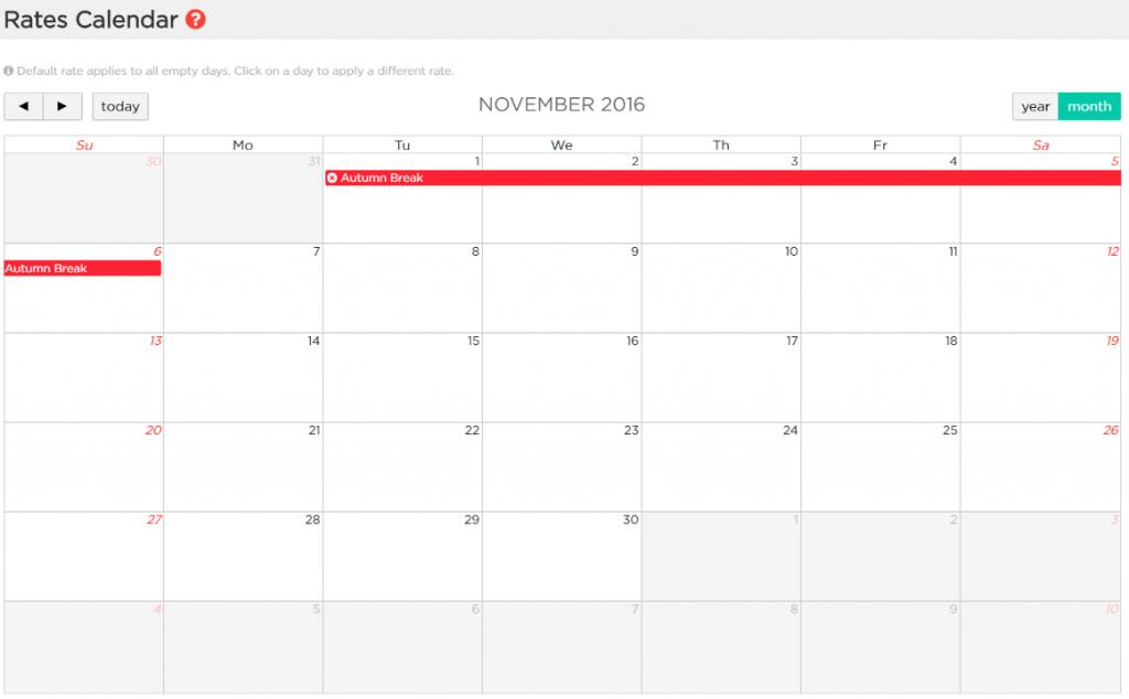 como establecer tarifas con el calendario de Lodgify