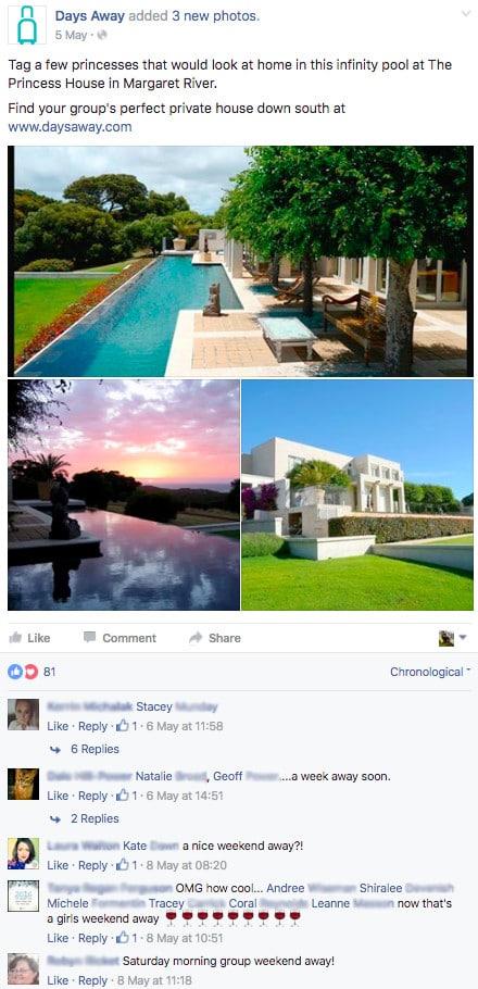 Pagina de Facebook para alquileres vacacionales 3