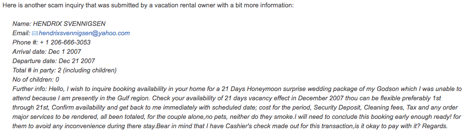 Vacation Rental Scam 3