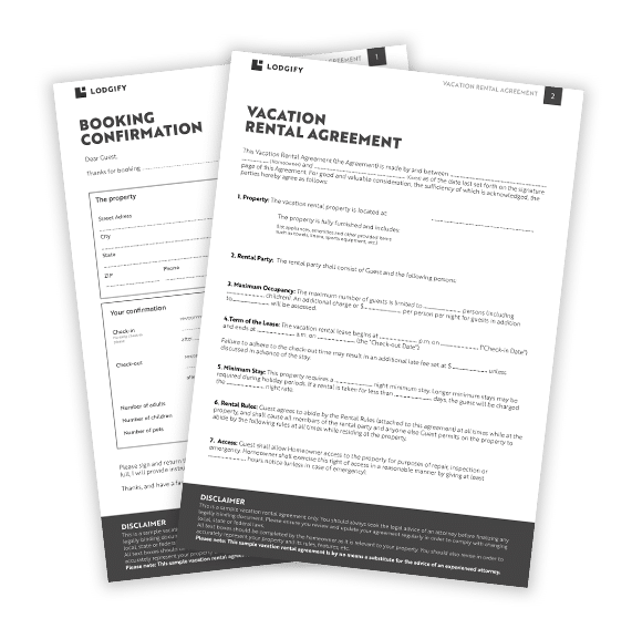 vacation rental agreement template word