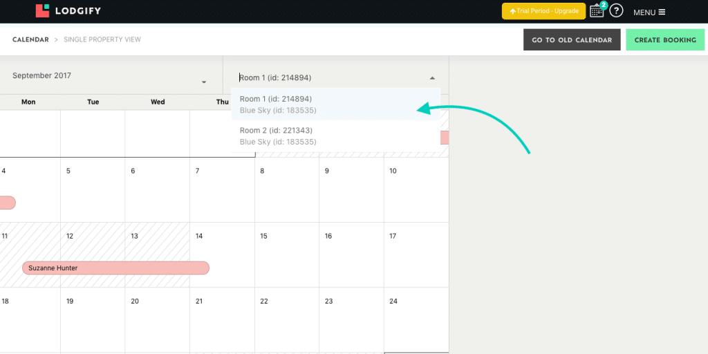 Lodgify Single Unit Calendar View Select Property