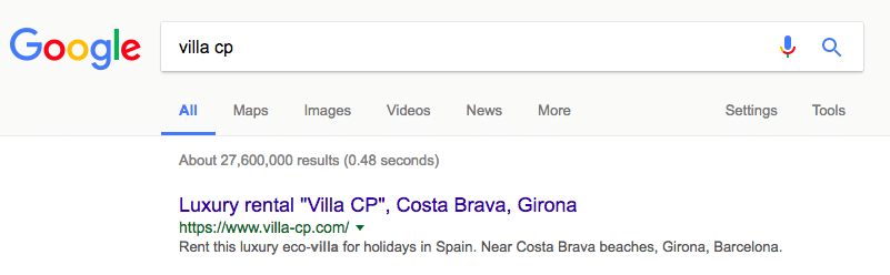 villa website branded google results