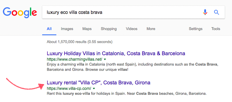 villa website keyword google results