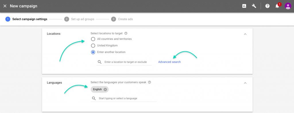 Google AdWords Tutorial campaign location