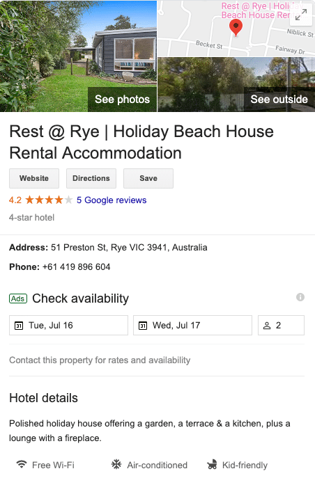 Holiday rental on Google Vacation rentals