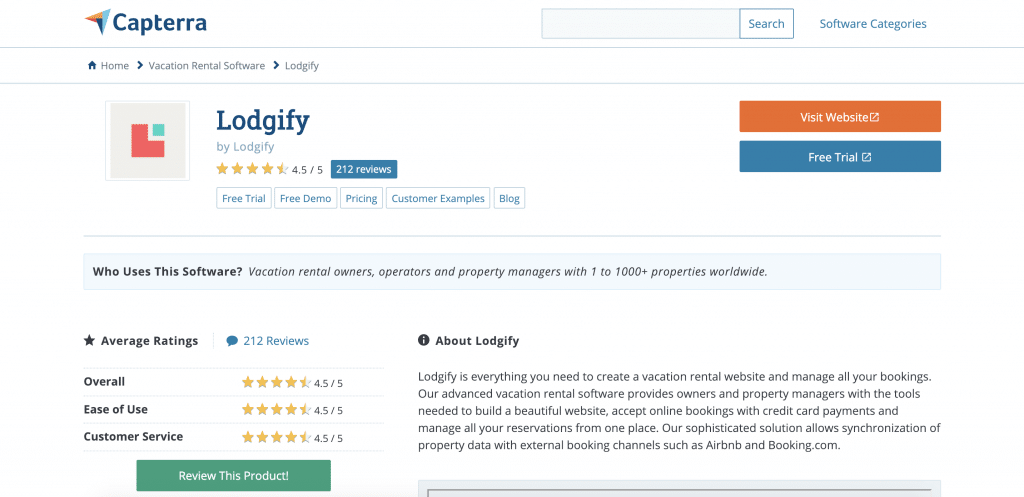 Lodgify reviews on Capterra
