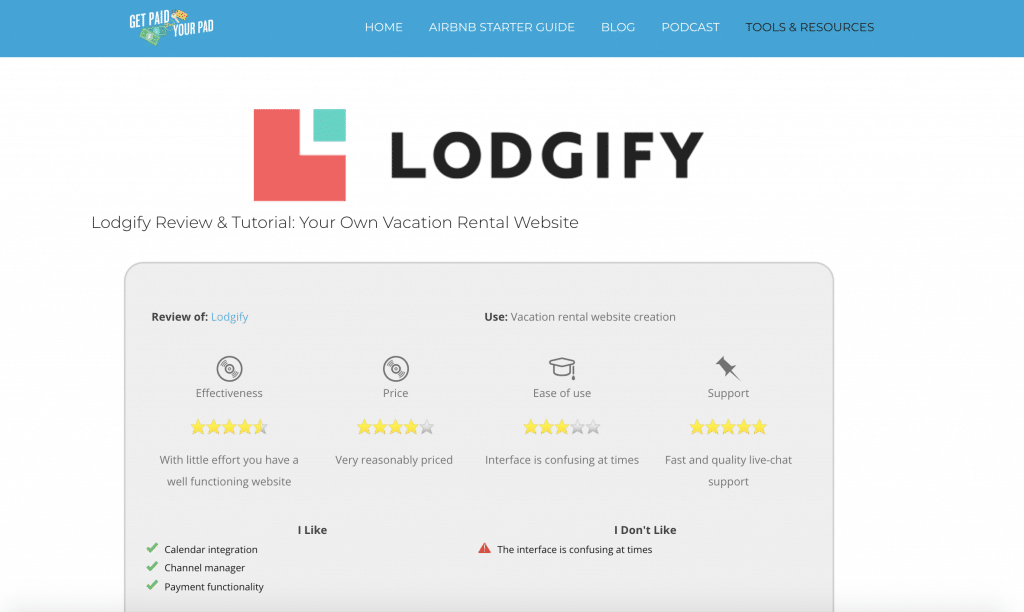 Get paid for your pad's Lodgify reviews