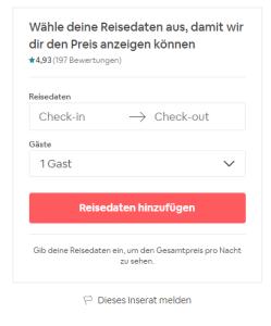 Airbnb Buchung abschließen