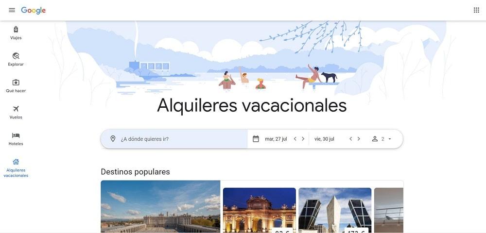 Búsqueda de alquileres vacacionales en Google Travel