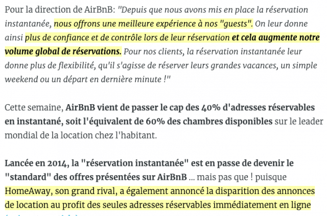 Airbnb et Homeaway - reservation instatanée