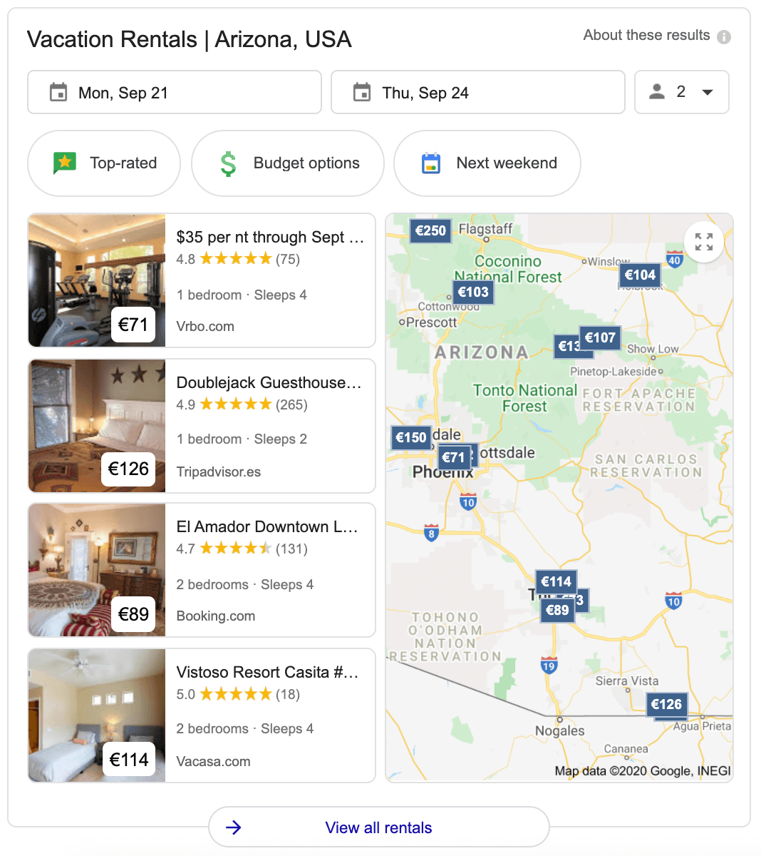 Google vacation rentals feature