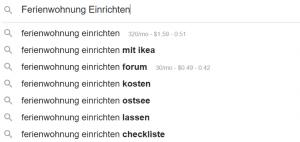 Autocomplete für Keyword Ideen
