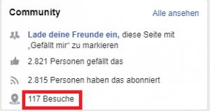 Anzeige der Besuche Facebook