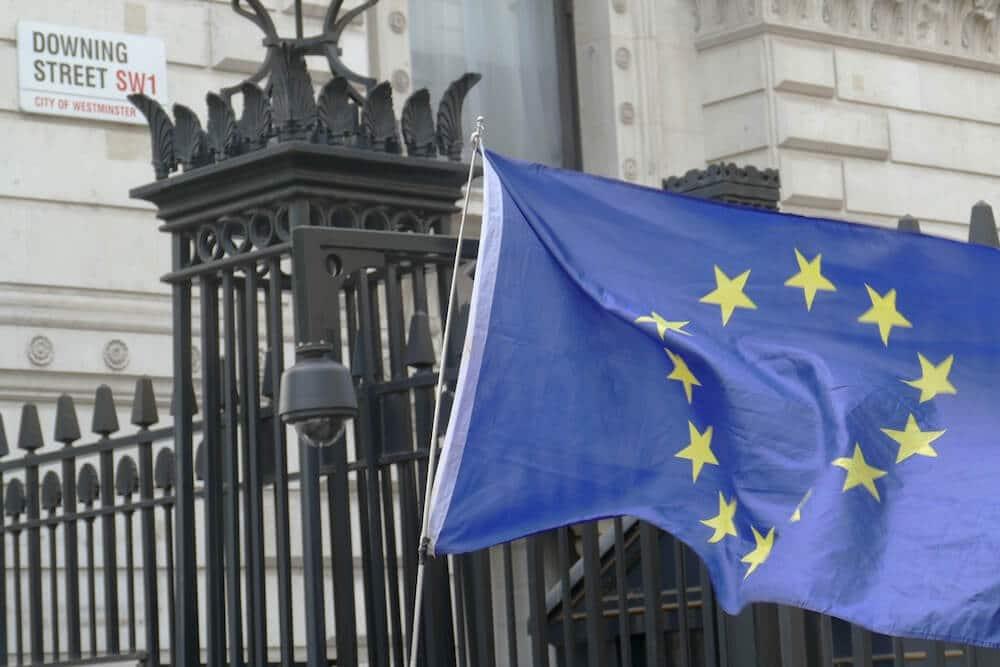 Bandera UE en Downing Street