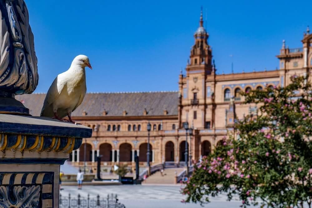 Plaza España de Sevilla vacía
