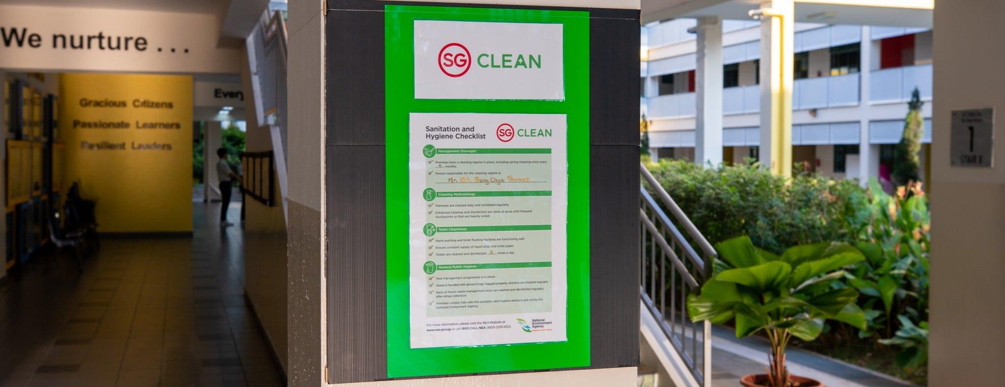 """Singapurs """"SG Clean""""-Abzeichen auf den Coronavirus"""