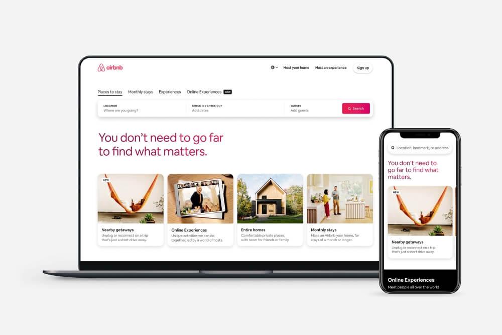 sección dedicada al turismo doméstico en la página web Airbnb