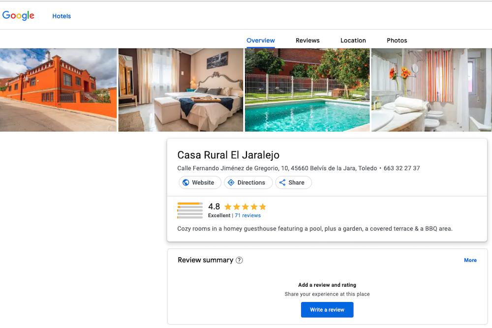List vacation rental on google