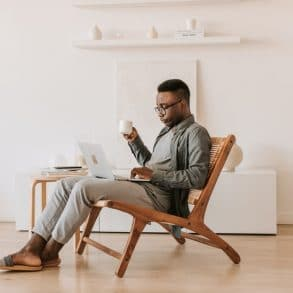 remote worker in a vacation rental