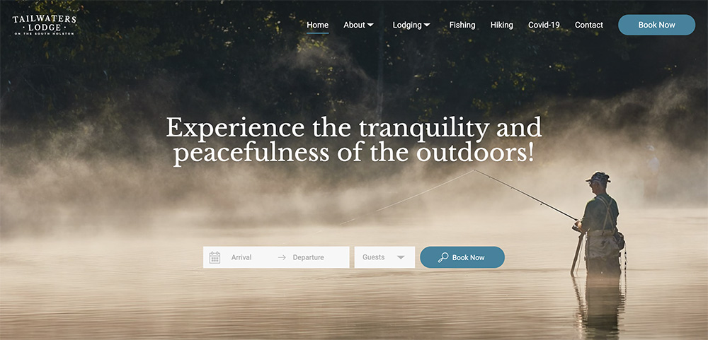 Lodgify website examples tailwaters lodge