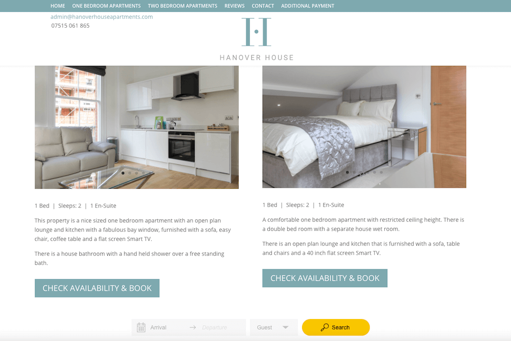 Booking widget for apartments