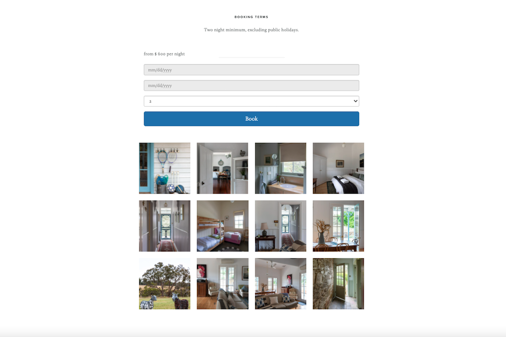 Search button booking widget for vacation rentals