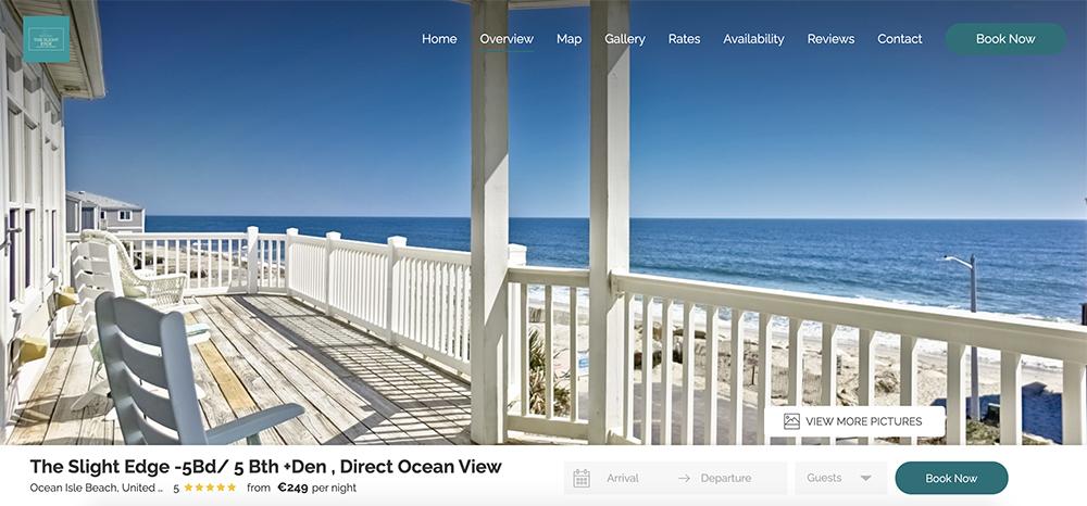 Mutli property vacation rental website example