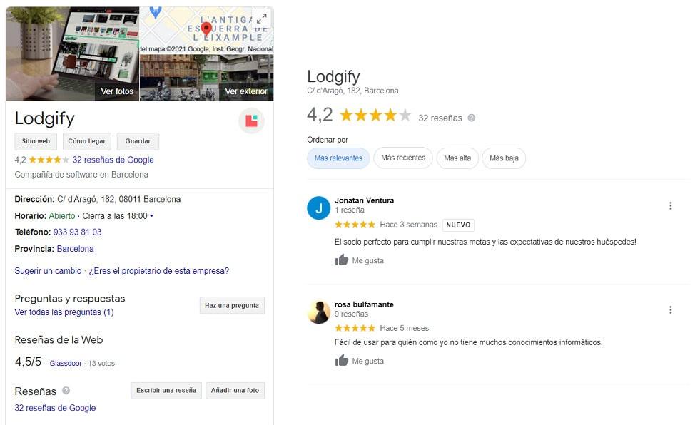 Opiniones de Lodgify Google