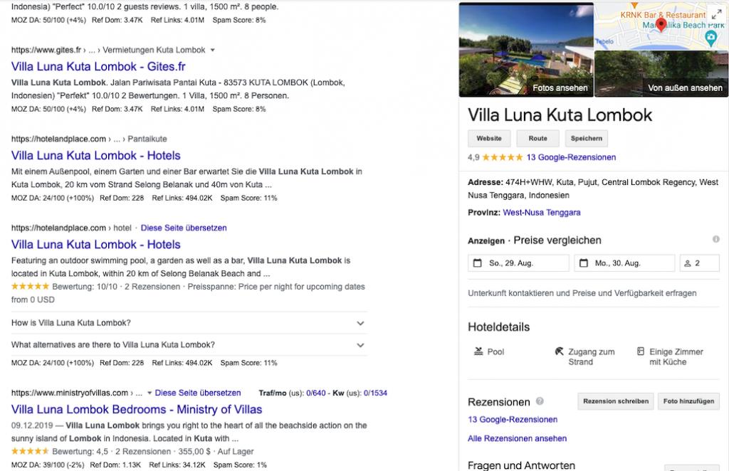 Rankings von Google My Business Ferienwohnungen