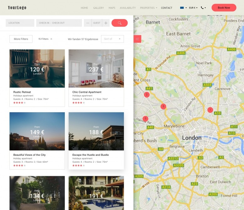 Maps and Locations - holiday home website design