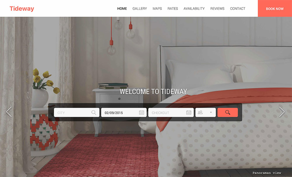 Tideway Vacation rental website template for Tablet users